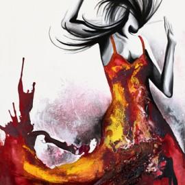 Attraction • 33''x51'' / Techniques mixtes / Vendu / « Faites valser votre féminité et retrouvez cette énergie explosive…