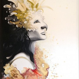 Fusion tropicale • 24'' x 48'' / Techniques mixtes / Disponible / « Elle reposait dans l'ultime silence, lorsque la couleur s'empara de son âme et la transforma...»