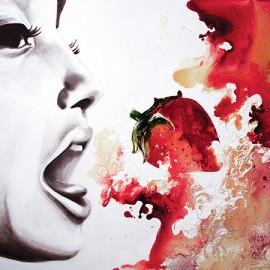 Lait aux fraises • 24'' x 18'' / Techniques mixtes / Disponible / « Une envie soudain de rouge et blanc, la petite créature en elle lui suggère ceci! »